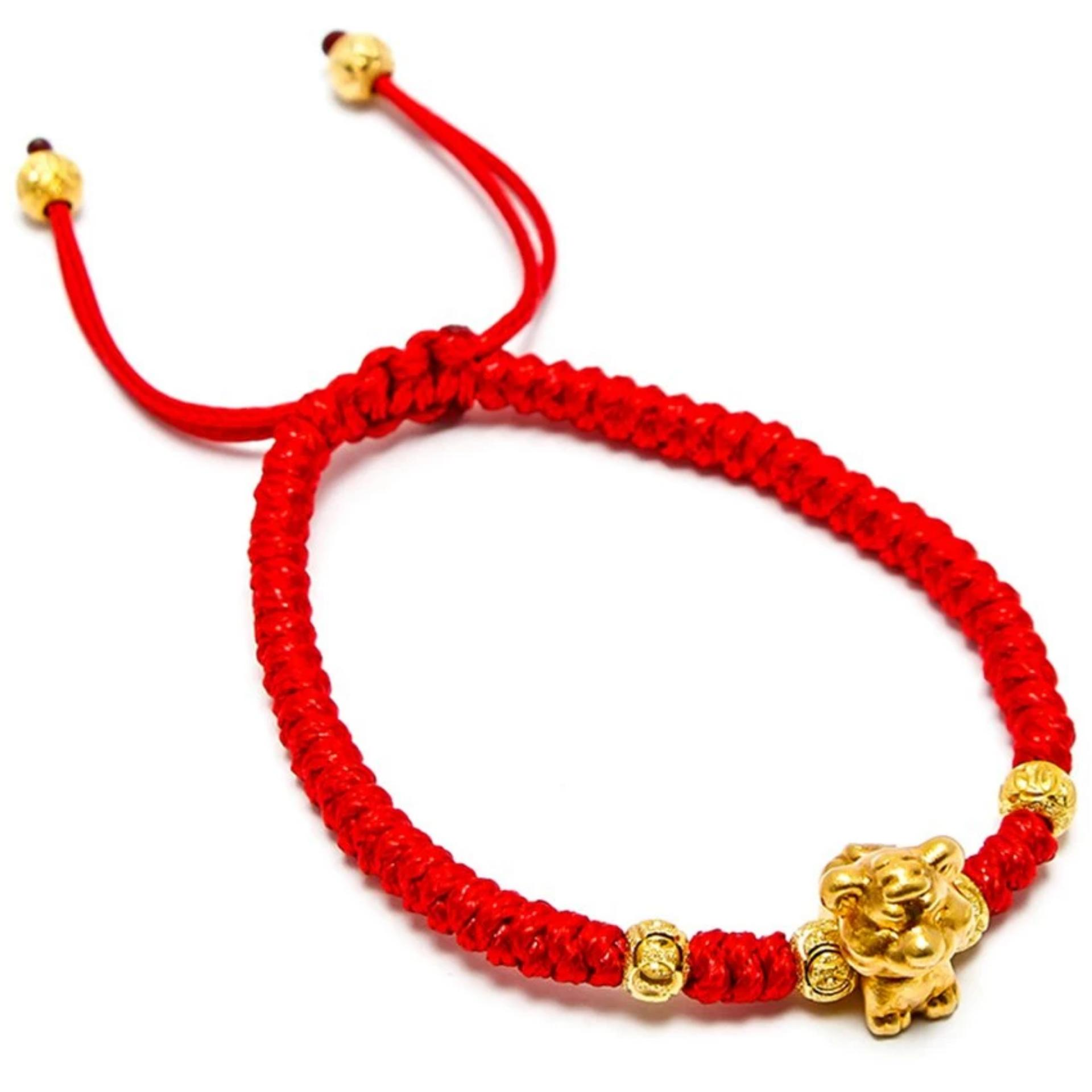 Vòng tay dây phong thủy mạ vàng 12 con giáp tuổi Dần ( Đỏ)