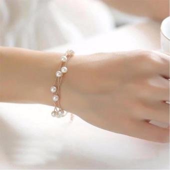 Vòng Tay Nữ Ngọc Trai Thời Trang HKB-D1606115 (Vàng)
