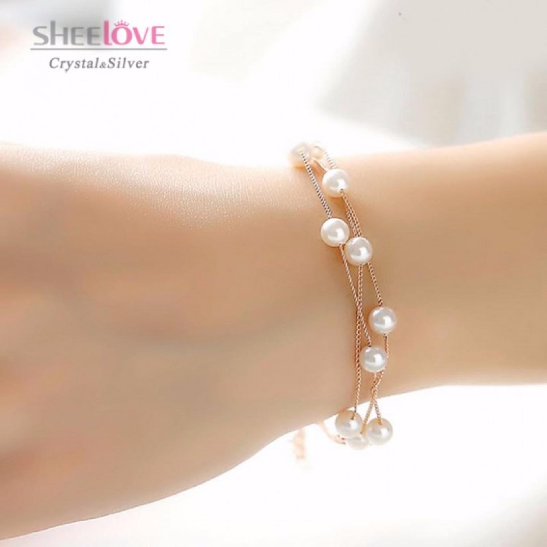 Vòng tay nữ Thời trang Hàn Quốc ngọc trai sang trọng Cao cấp HKB-1605243C