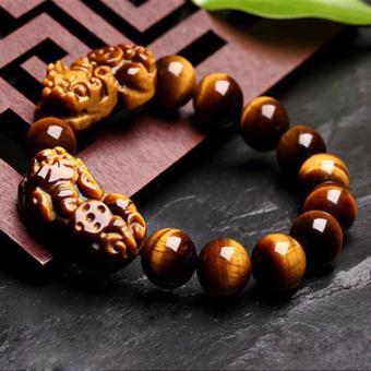 Vòng Tay Tỳ Hưu Đá Mắt Hổ Vàng 12MM Phong Thủy Bảo Tín (Vàng)