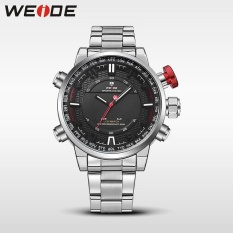 Khuyến Mãi WEIDE Men Quartz Wristwatches Outdoor Sport Watch Stainless Steel Strap Alarm Clock Silver Black – intl   NanXiangZi