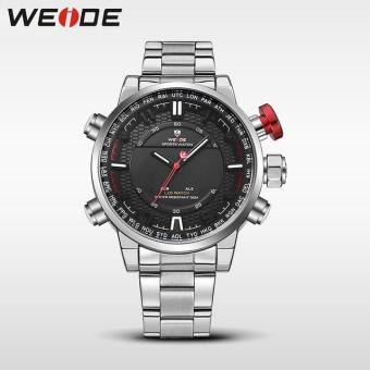 Khuyến Mãi WEIDE Men Quartz Wristwatches Outdoor Sport Watch Stainless Steel Strap Alarm Clock Silver Black – intl  NanXiangZi
