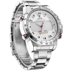 Giá Khuyến Mại WEIDE Sports Military Watch Multifunctional Quartz LCD Digital Watches Stainless Steel Waterproof Men Wristwatches -Silver White – intl  ZIKUF