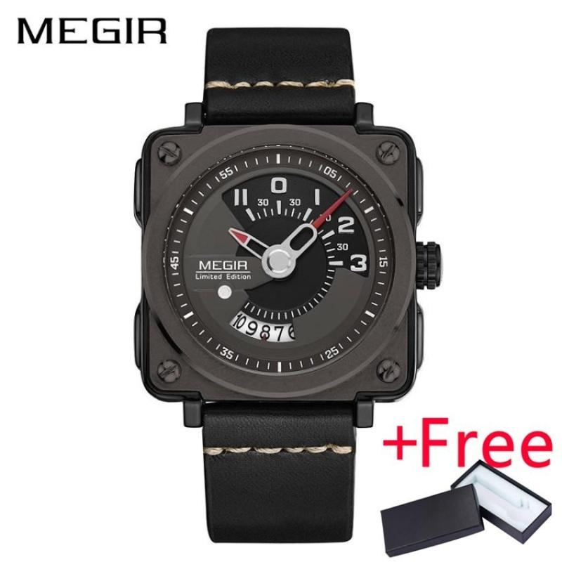 Nơi bán Wholesaler MEGIR 2040 Sport Men Watch Jam Tangan Leather Strap Square Clock Quartz Military Watch Jam Tangan es with Watch Jam Tangan Box - intl