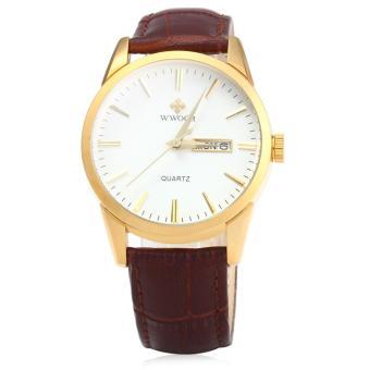Tên thương hiệu WWOOR 8801 Male Leather Band Quartz Watch Date Week Display - intl Nơi mua