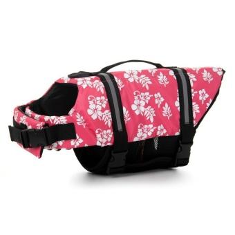 XXL Pet Aquatic Reflective Preserver Float Vest Dog Saver Safety Life Jacket Pink - intl