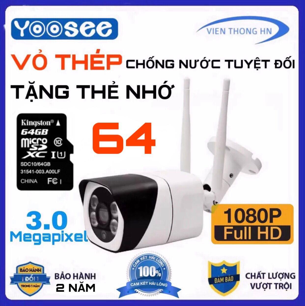 [VỎ BẰNG THÉP CHỐNG NƯỚC] Camera wifi yoosee 3.0Mp 1920 x 1080P Full HD S10 NGOÀI TRỜI khả năng lưu trữ 64gb - TRONG NHÀ XEM ĐÊM CÓ MÀU - CAMERA WIFI CHỐNG NƯỚC tặng thẻ nhớ 64