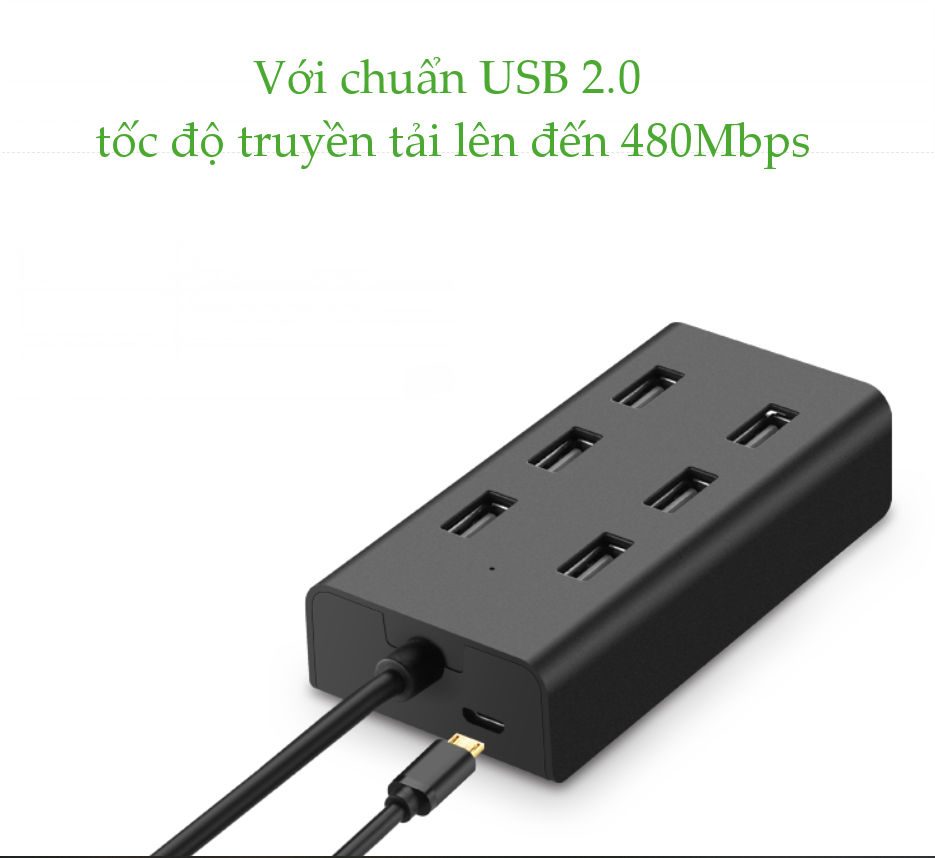 Bộ chia USB 2.0 ra 7 cổng, hỗ trợ mở rộng cổng USB 2.0 cho máy tính, laptop, dài 1m UGREEN CR133 30374