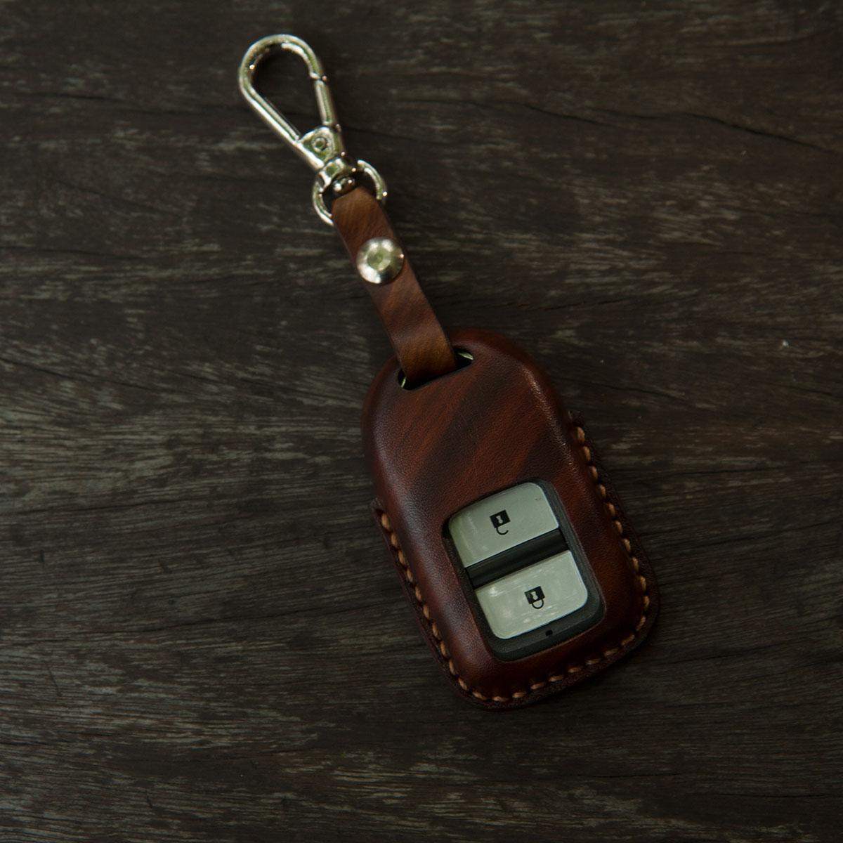 Bao da chìa khoá màu vân gỗ nâu đậm cho Honda CR-V, đồ da handmade chất liệu da bò thật nhập khẩu - ASBD4658
