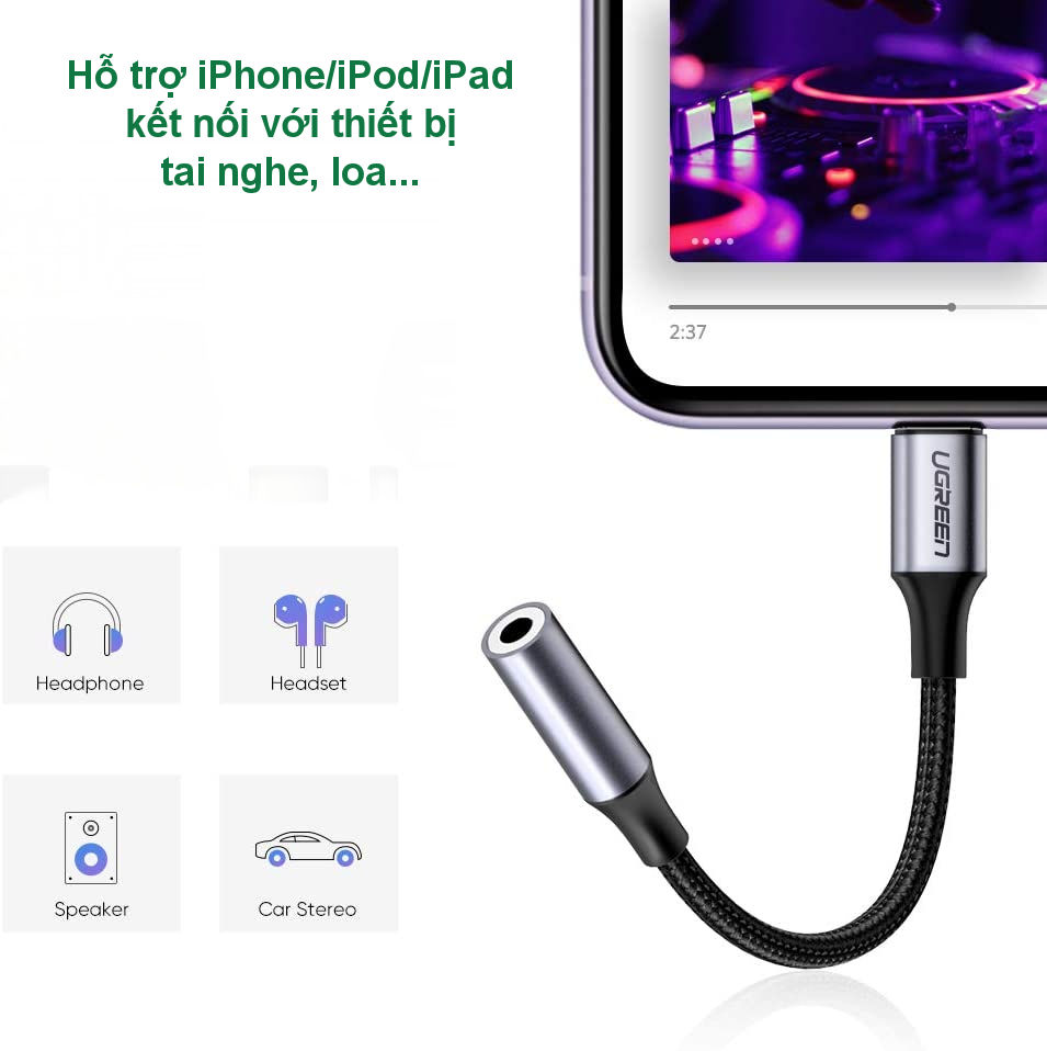 Cáp Lightning sang 3.5mm Audio chuẩn MFI UGREEN US211 - Dùng tai nghe 3.5mm cho iPhone 11 Pro Max / iPhone Xs Max / iPhone Xr / iPhone X / iPhone 8 Plus / iPhone 7 Plus