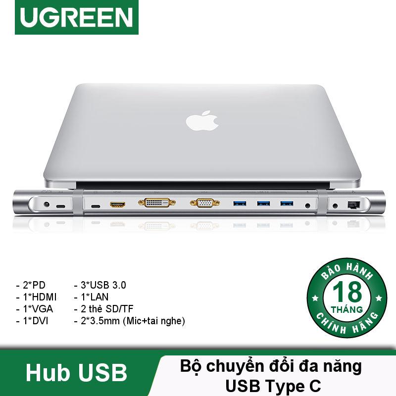 Bộ chuyển đổi đa năng USB type C hỗ trợ 13 cổng đầu ra, cáp dài 0.5m UGREEN MM131