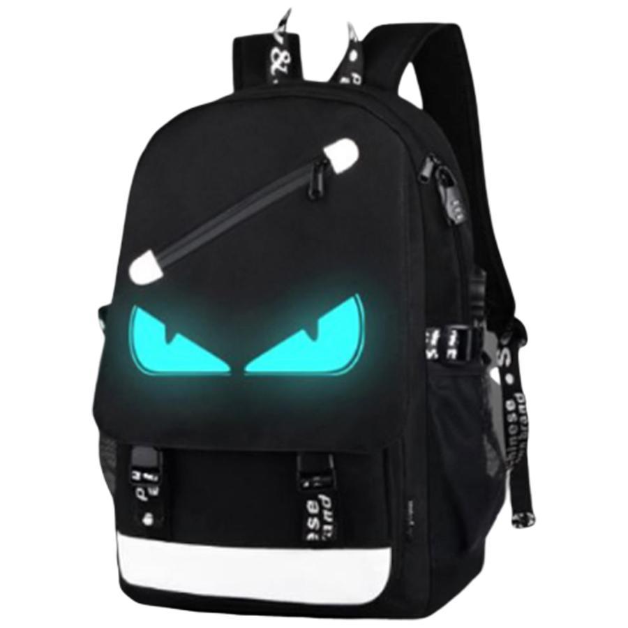 Hình ảnh Balo dạ quang phát sáng hình Mắt (Tặng kèm cáp sạc USB, Khóa số Chống Trộm)