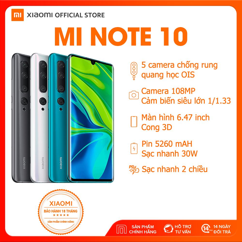 [XIAOMI OFFICIAL] Điện Thoại Xiaomi Mi Note 10  (6GB RAM/ 128GB ROM, Camera 108 MP 7 Thấu Kính)- Màn hình 6.47'' AMOLED , Cảm biến vân tay trong màn hình, Pin dung lượng cực cao 5260 mAh, Sạc nhanh 30W - Hàng chính hãng, bảo hành 18 tháng.
