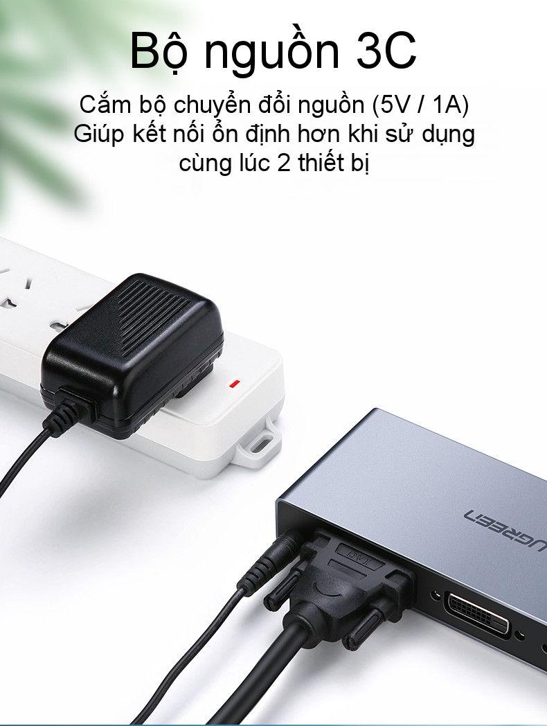 Bộ chia màn hình DVI (24+1) 1 cổng ra 2 cổng cao cấp UGREEN CM202 50746