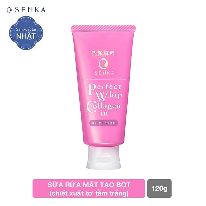 Sữa rửa mặt ngăn ngừa lão hóa giảm nếp nhăn Collagen Senka Perfect Whip Collagen In 120g