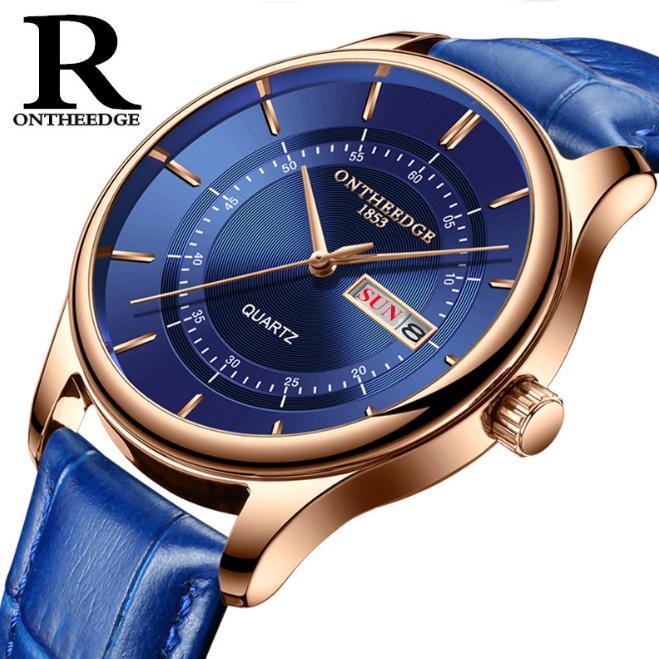 Đồng hồ nam Ontheedge RZY029 dây da thời trang Fullbox chính hãng (Xanh)