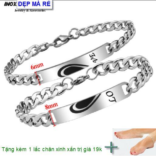 ( Tặng 01 lắc chân ) Lắc tay cặp đôi inox Đẹp Mà Rẻ khắc 1/2 chữ Y Love ( 2 Lắc Nam Nữ như hình ) - VTLT00014T035099