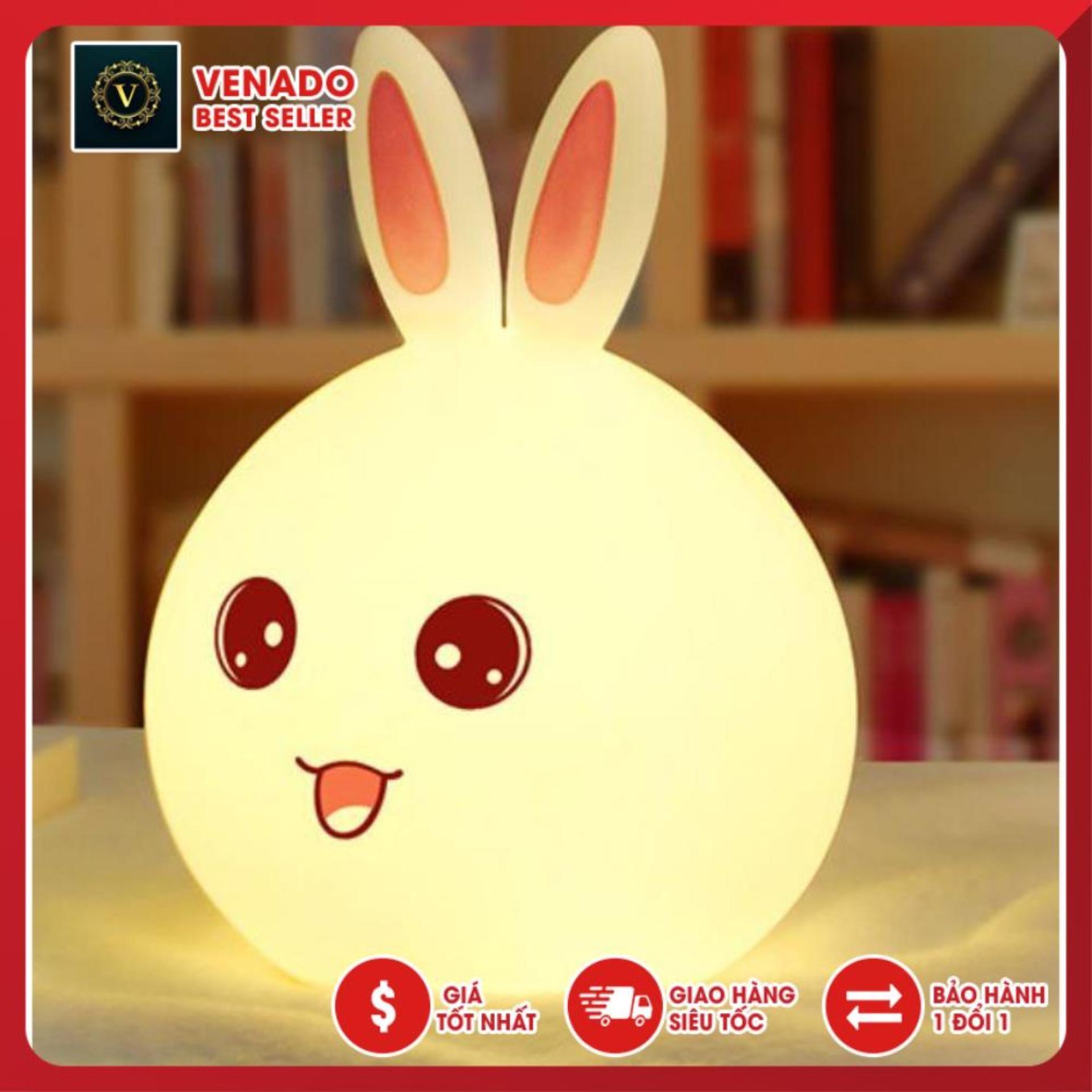 Đèn ngủ Silicon led cảm ứng dễ thương hình thỏ (Led đổi màu) silicon dẻo cao cấp có điều khiển từ xa, đèn ngủ cảm ứng trang trí để bàn cực hot