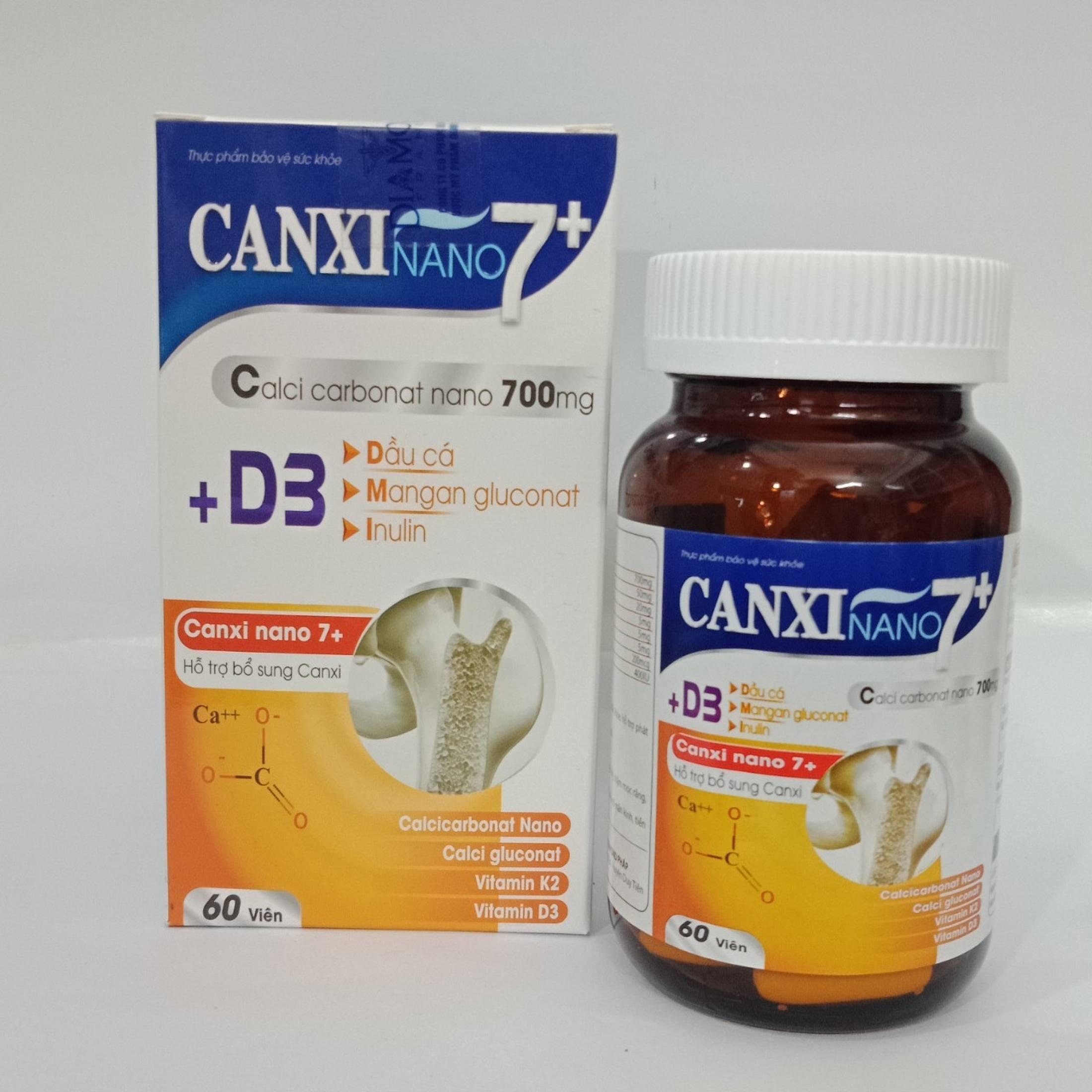 Phát triển chiều cao, bổ sung canxi nano, MK7, phòng ngừa loãng xương - Viên uống Canxi nano 7+ ( lọ 60 viên)