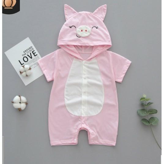 Bộ áo liền quần có mũ hình thú (heo hồng) cho bé gái 6-24 tháng