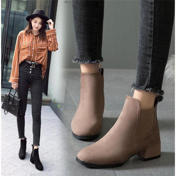 Giày boot nữ cổ chun chất da lộn lên chân cực êm
