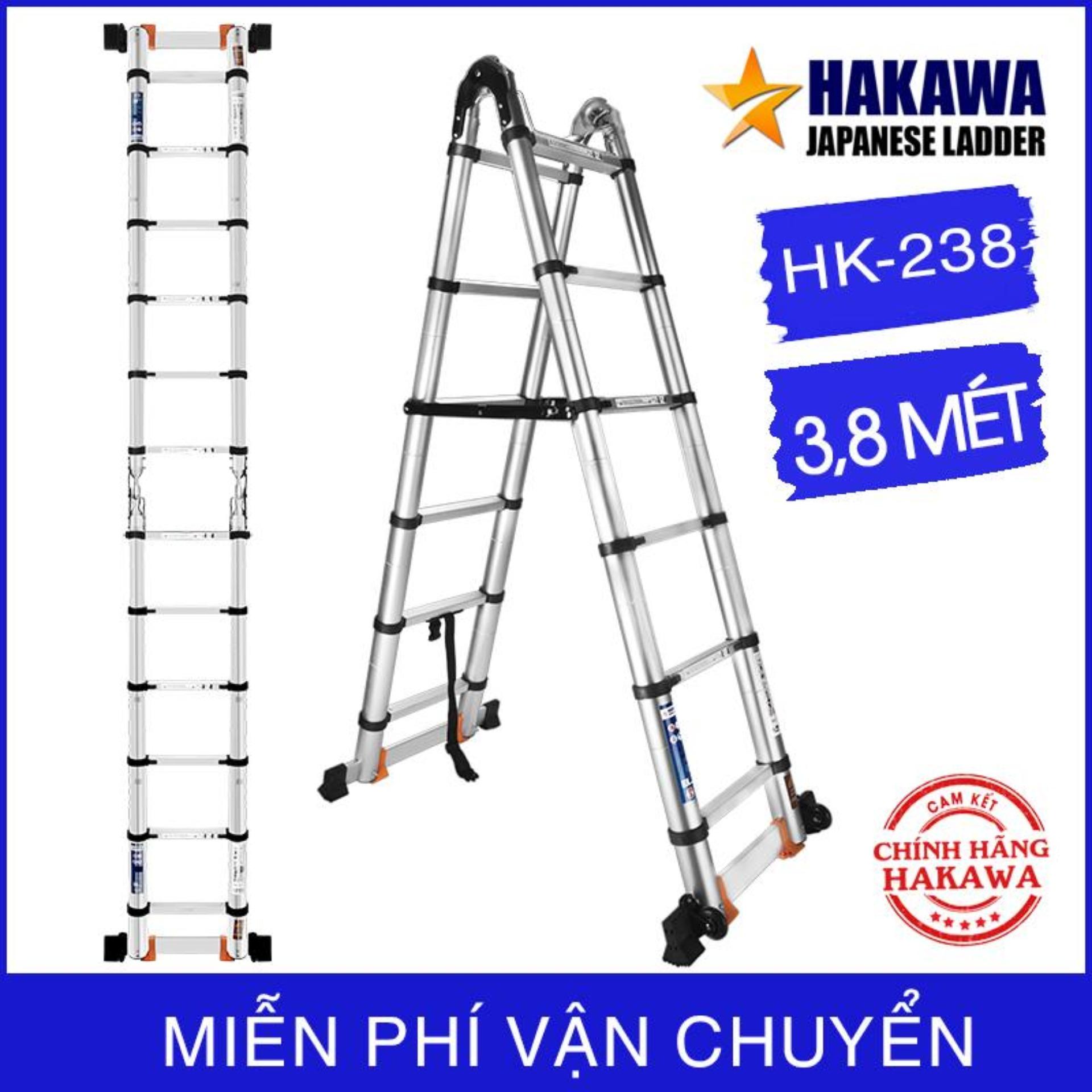 Thang nhôm rút chữ A Cao cấp 2019 ( 3m8 ) - HAKAWA - Thang nhôm chuyên dụng cho thợ rèm - Bảo hành 2 năm - Đổi trả trong vòng 30 ngày