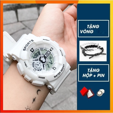 Đồng hồ điện tử nam nữ Shhors điện tử dây cao su chống nước chống (tặng Hộp và Pin )