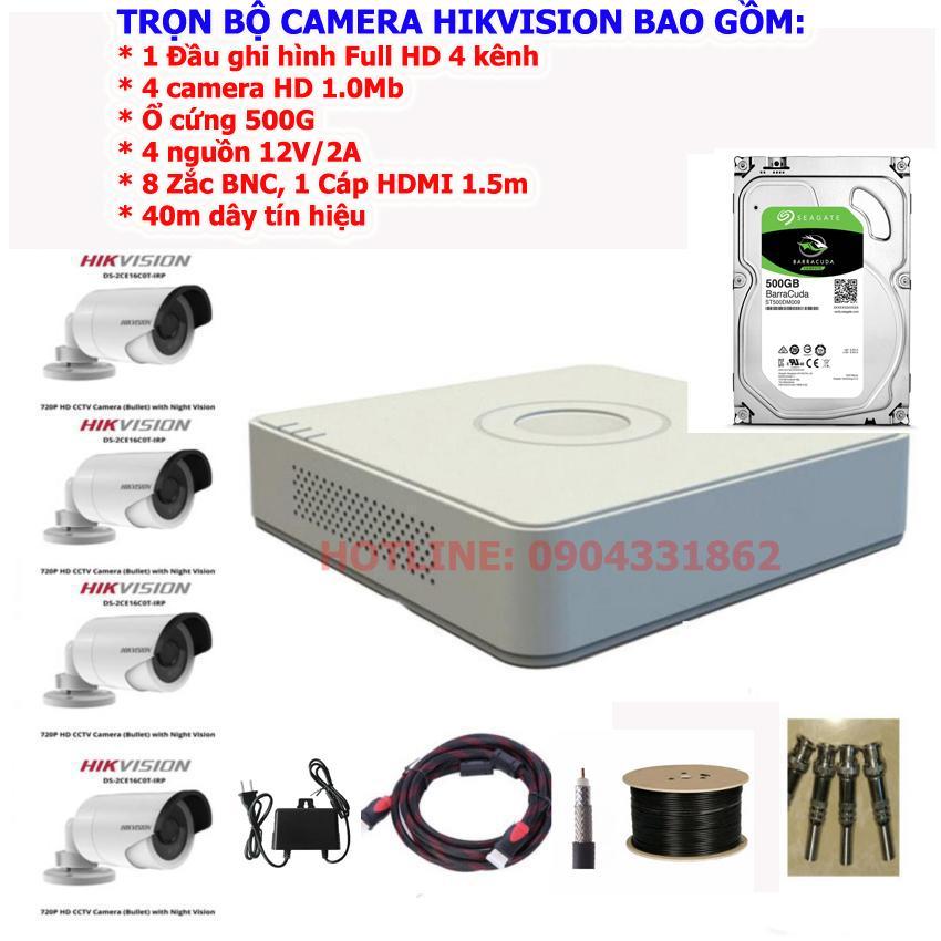 Hình ảnh Trọn bộ camera 4 kênh Hikvision DS-7104HGHI-F1, ổ cứng 500G + 4 Camera hồng ngoại 1 Megapixel Hikvision DS-2CE16C0T-IRP + 8 Rắc BNC + 4 nguồn DV 12V/2A + 40m dây cáp tín hiệu