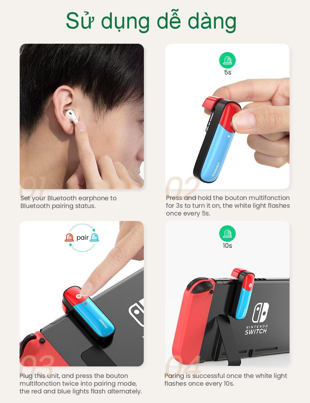 Bộ phát Bluetooth cho máy chơi game Nintendo Switch hỗ trợ APTX Low Latency UGREEN 80188