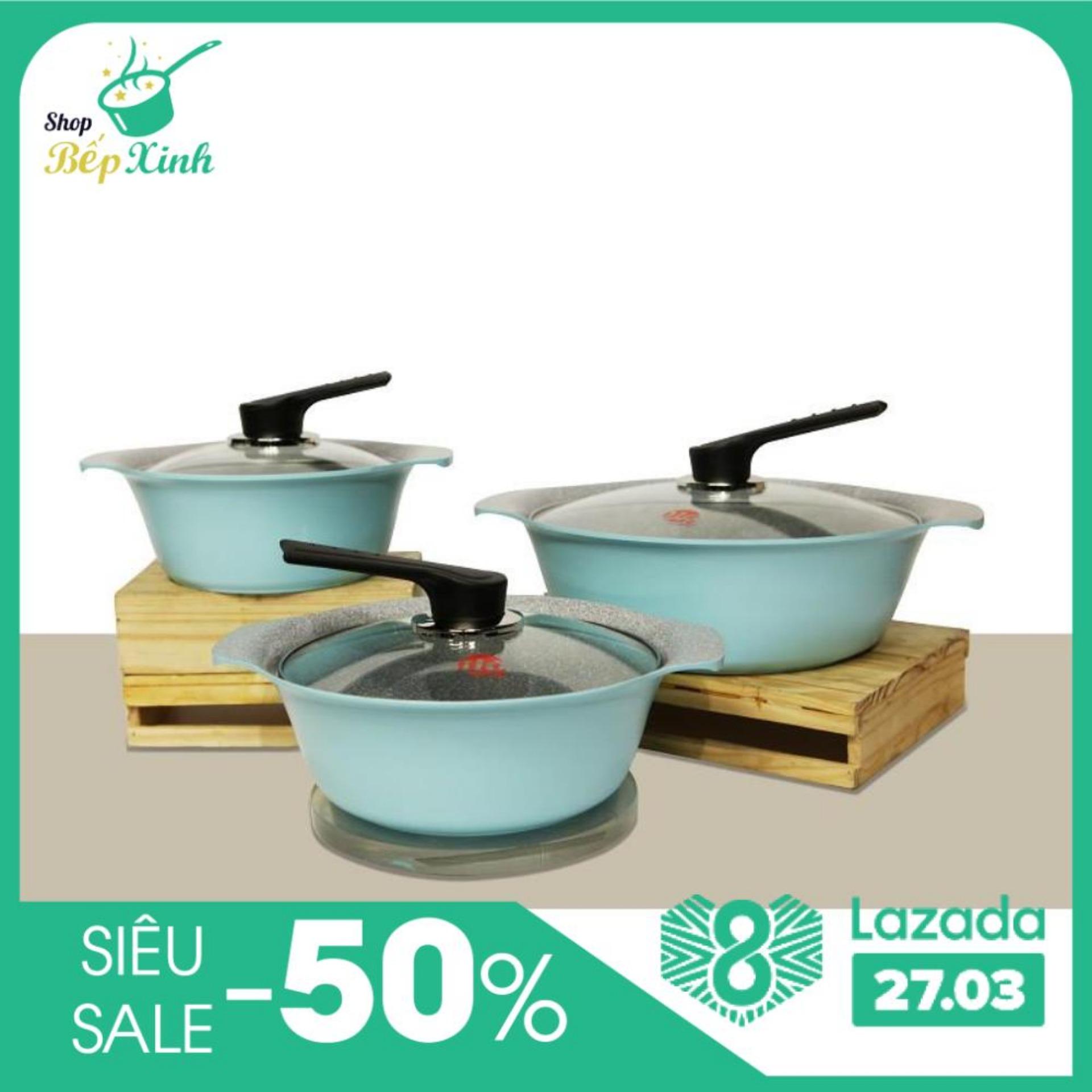 Bộ nồi Ceramic  ILO Hàn Quốc 3 món . sử dụng bếp từ . nhập khẩu Hàn Quốc (1 nồi 18cm x  1 nồi 21cm x 1 nồi 27cm)