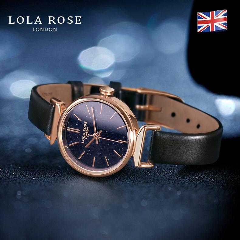 Hình ảnh Đồng hồ nữ chống nước , đồng hồ nữ mặt tròn nhỏ Lola Rose đá bảo thạch galaxy lấp lánh cao cấp, dây đeo da bò Italy mềm mại, phù hợp với cô nàng công sở thanh lịch, bảo hành 2 năm LR2048