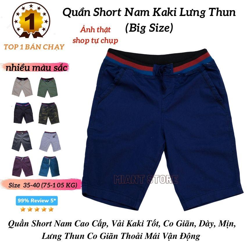 Quần Short Nam Kaki Lưng Thun Big Size ❤️FREESHIP❤️ Quần Short Kaki Nam Chất co Giãn