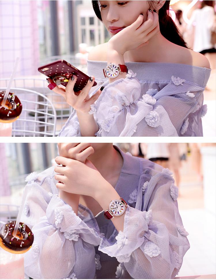 Đồng hồ nữ KING TIME Đính Đá Ruby Cầu Vòng, Mặt to nổi bật, Chống nước sinh hoạt 7