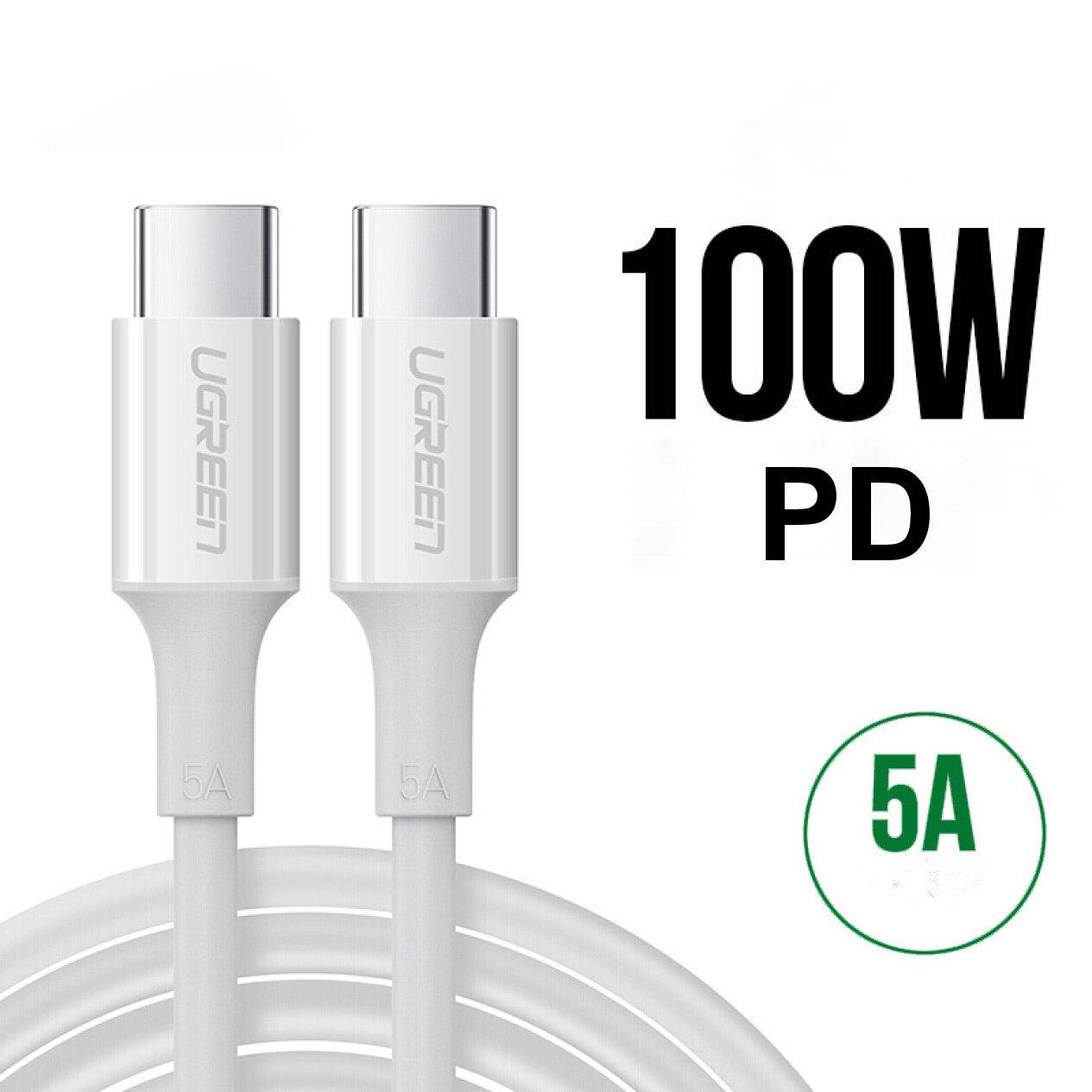 Cáp sạc USB-C sang USB-C UGREEN US300 - Hỗ trợ sạc nhanh công suất tối đa 100W, dòng 5A dài 1-2m