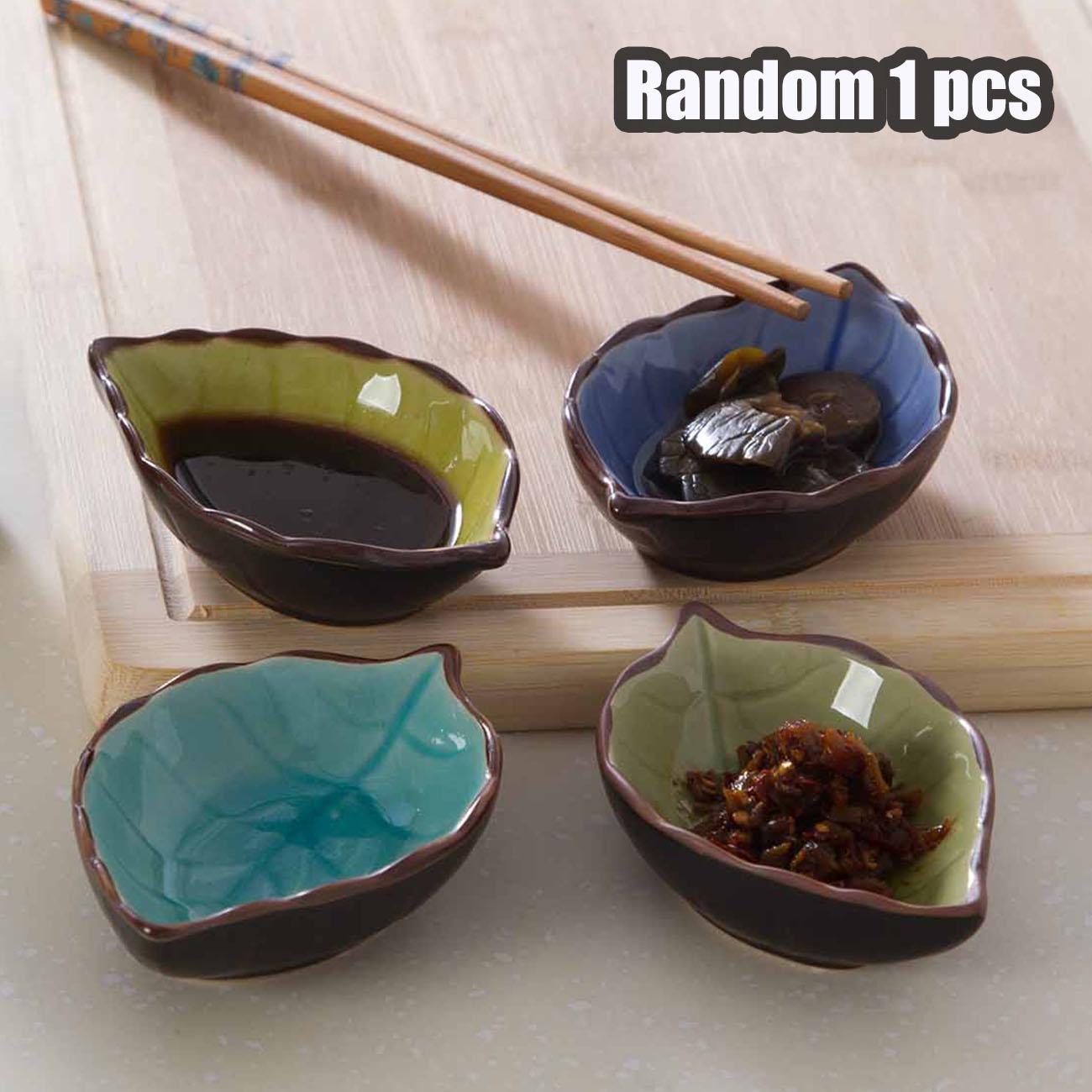 Stocomodi 1 Pcs Random Color Dinnerware Ceramic Glaze Leaf-shape Seasoning Dish