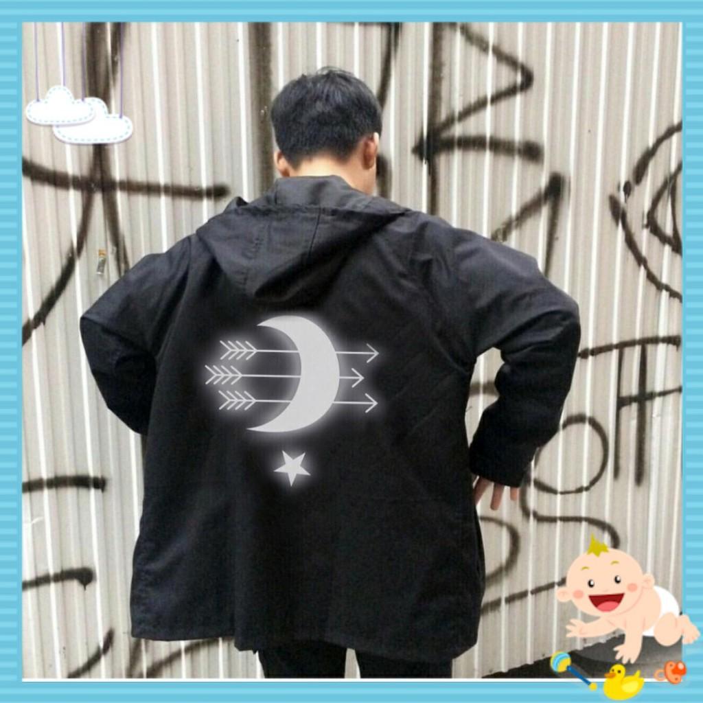 Áo khoác gió, Áo jacket dù nam nữ mặt trăng phản quang