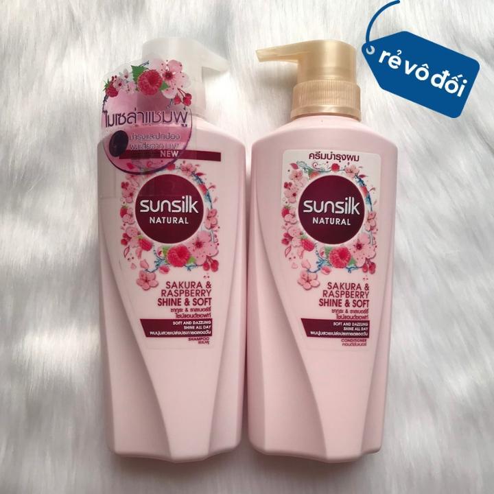 Combo dầu gội và xả mềm mượt hương hoa Sunsilk Sakura Raspberry 450ml | Thái Lan