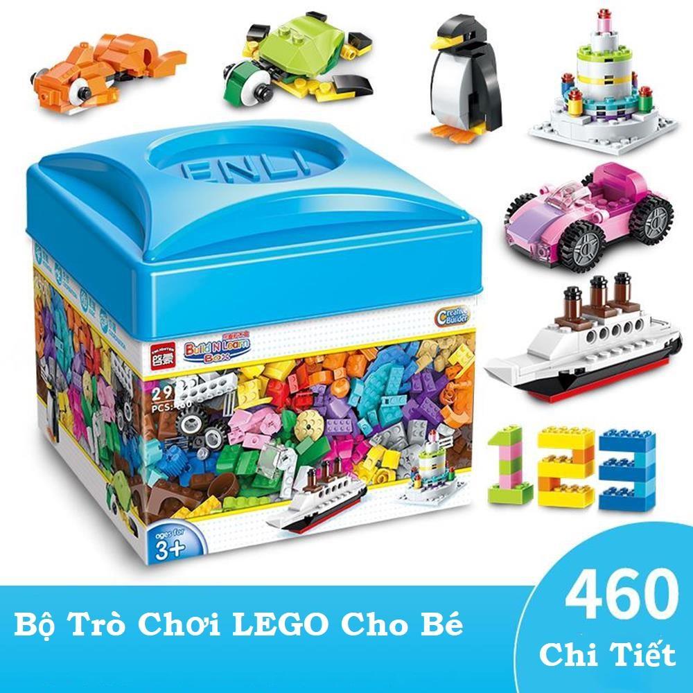 Đồ chơi giáo dục, Đồ chơi xếp hình, Bộ Trò Chơi Lắp Ghép Lego 460 Chi Tiết, Chất Liệu Nhựa Nguyên Sinh An Toàn Cho Bé, Giúp Bé Sáng Tạo Phát Triển Trí Não.