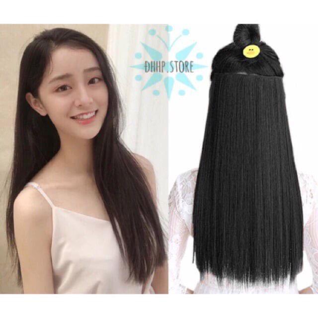 Tóc giả nữ kẹp FREESHIP kẹp thẳng dài 60cm 2