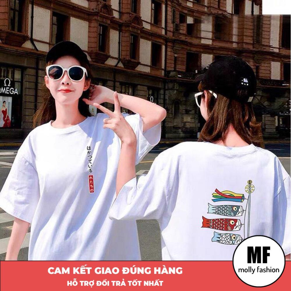 Áo phông, áo thun nam nữ form rộng tay lỡ Unisex giấu quần Đèn lồng cá chép Freesize dưới 70kg (1m75) Molly Fashion MS08