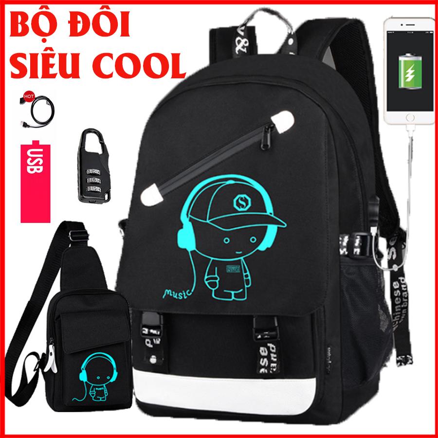 Hình ảnh Combo balo nam đi học dạ quang phát sáng hình BoyMusic phong cách Nhật Bản + Túi đeo chéo dạ quang hình cậu bé nghe nhạc (Tặng kèm cáp sạc, khóa số chống trộm)