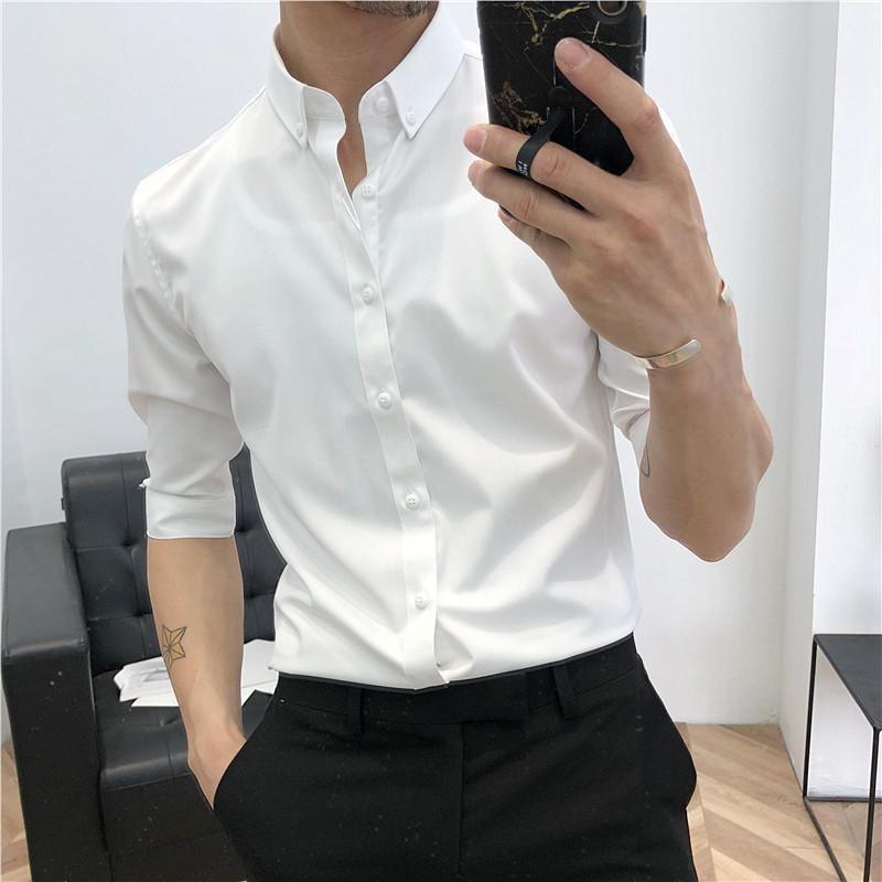 áo sơ mi nam tay dài chất liệu Vải Lụa Chống Nhăn chống xù , ao so mi nam trắng phong cách công sở thanh lịch (ảnh thật)