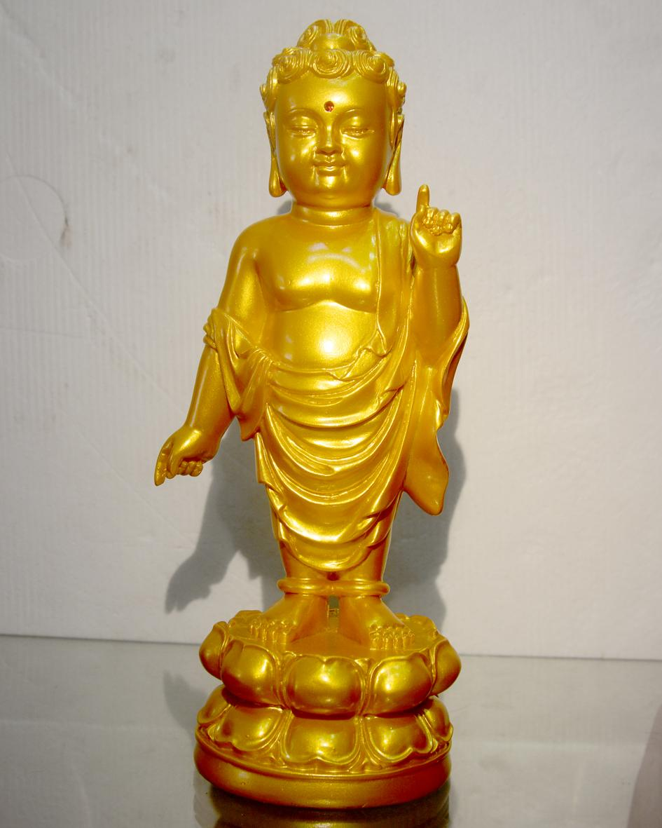 Hình ảnh Tượng Đức Phật đản sanh cao 24cm-Nhiều mẫu. Màu sắc tượng được sơn vẽ tỉ mỉ,nước sơn chất lượng tốt,có thể lau chùi,vệ sinh với nước dễ dàng,không phai màu sơn.