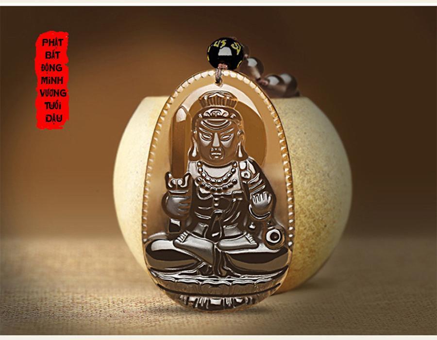 Chuỗi hạt đeo cổ mặt Phật bản mệnh độ mệnh cho người tuổi dậu - phật bất động minh vương - Đá thạch anh Obsian khói xám