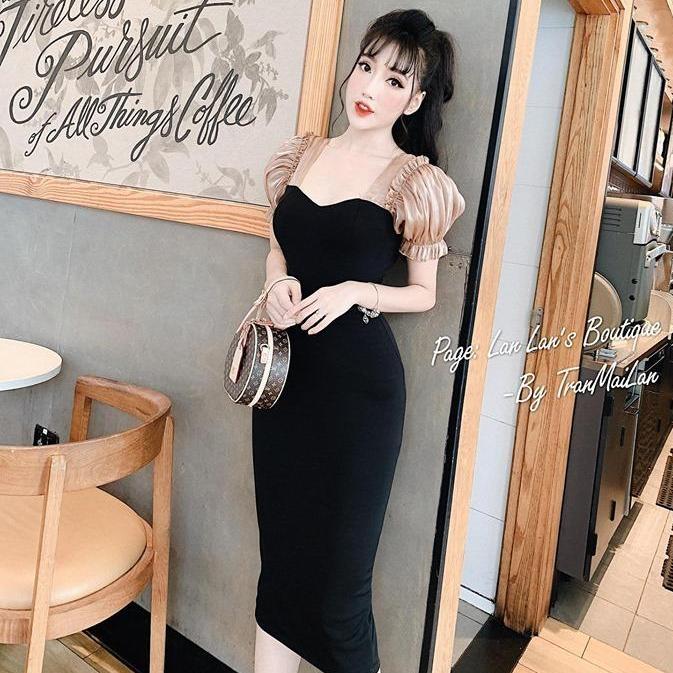 [Mẫu mới] Đầm Body Tay Búp Tiểu Thư Sang Chảnh Vải Umi Dày Dặn Phối Tơ Sống