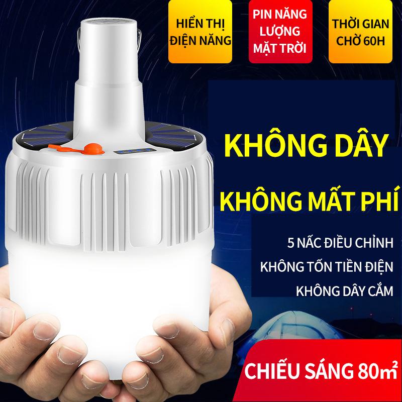 Đèn LED sạc tích điện năng lượng mặt trời có móc treo; Bóng đèn hình cầu tiết kiệm điện; Đèn di động chiếu sáng sạp hàng chợ đêm; Đèn dùng khẩn cấp khi nhà mất điện (Không kèm Remote)