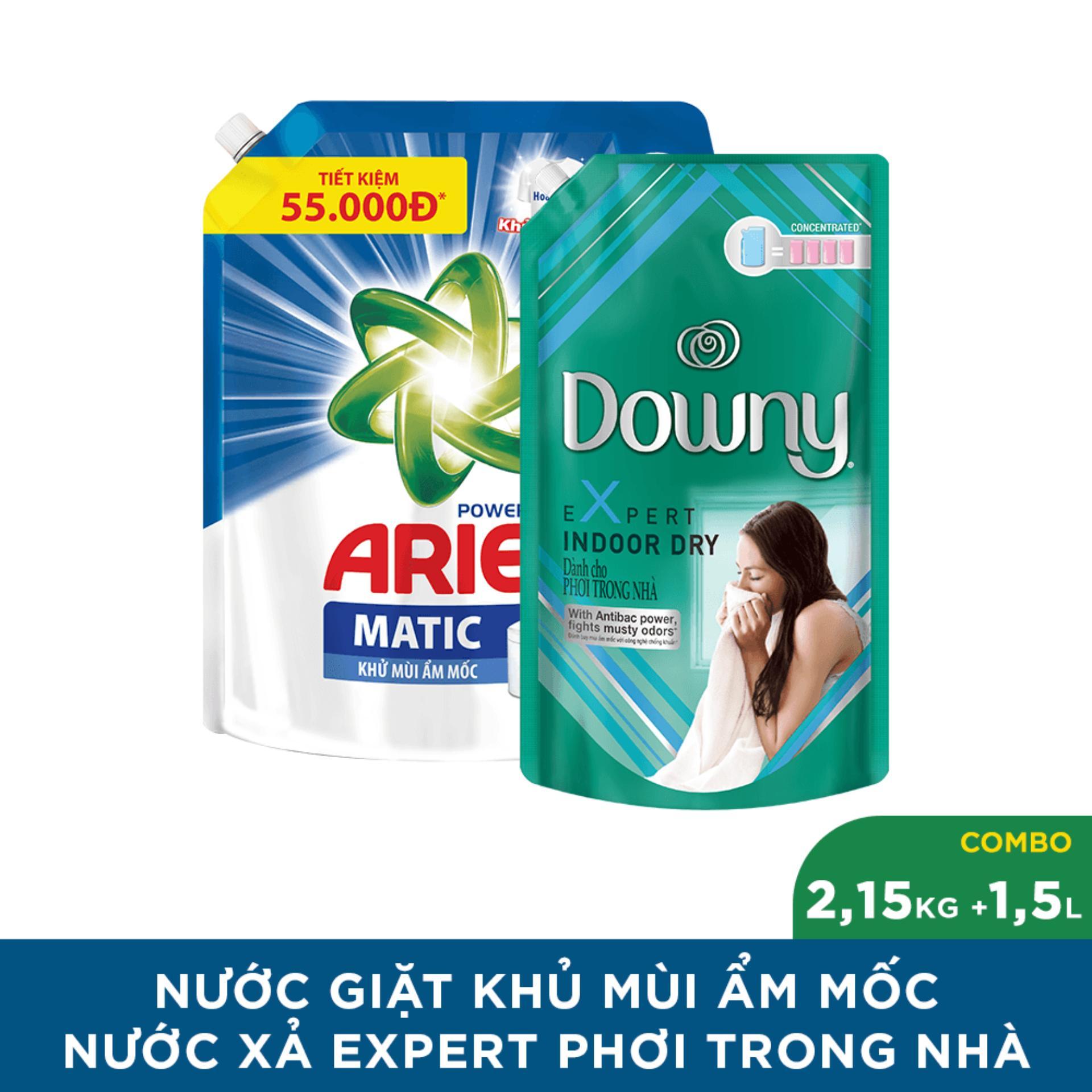 Combo túi nước giặt Ariel khử mùi ẩm mốc 2.15kg + túi xả vải Downy phơi trong nhà 1.5L