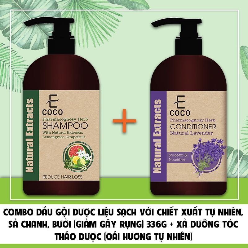 Combo Dầu gội dược liệu giảm rụng tóc Ecoco với chiết xuất sả chanh, bưởi 336g + Dầu xả dưỡng tóc thảo dược chiết xuất oải hương