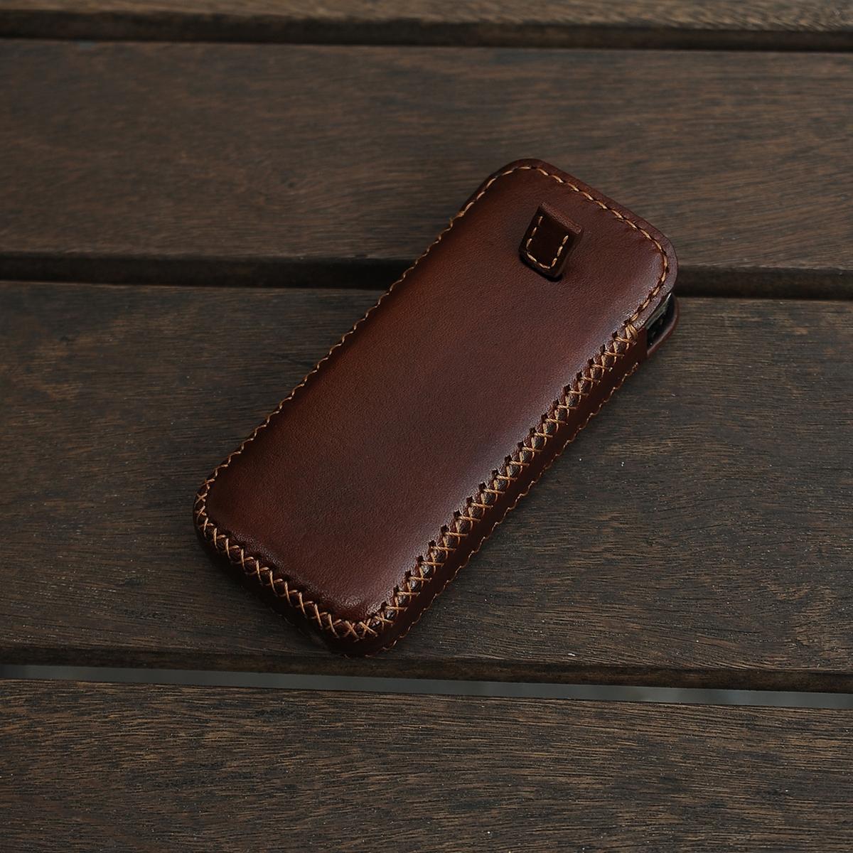 Bao da Nokia 8800 đeo hông - Bao điện thoại handmade da thật - Màu Nâu