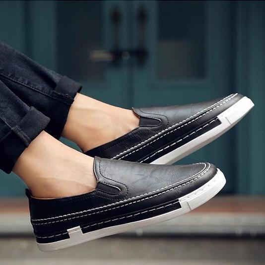 GIÁ HỦY DIỆT ✅ Giày SLIP ON DA G17 ( ĐEN ) Thể Thao/Giày Nam hiện đại , cá tính, đẹp độc lạ, chất thoáng mát, phong cách Hàn Quốc mẫu mới nhất 2019 - TỔNG KHO GIẦY NHẬP KHẨU
